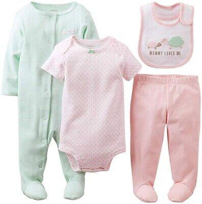 Carters Baby Girls 4 Piece Bodysuit Pants Bib Set - 9 Months NEW/NWT