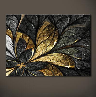 BLATTGOLD Abstrakt Leinwand Bilder Schwarz Gold Blatt Kunstdruck Wandbild 3D NEU ()