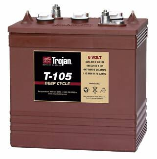 ✪ TROJAN T105 6 VOLT GOLF CART BATTERY 6v225A/h SOLAR DEEP CYCLE Ashmore Gold Coast City Preview