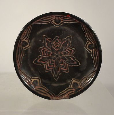 Antique Japanese Chinese Tixi Guri Lacquer PLate Tray Floral Flower As Is