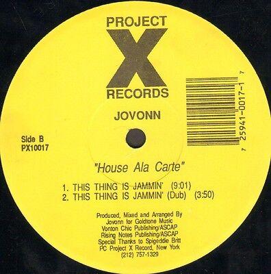 Jovonn   House Ala Carte   Project X Records   Px10017   Usa 1992
