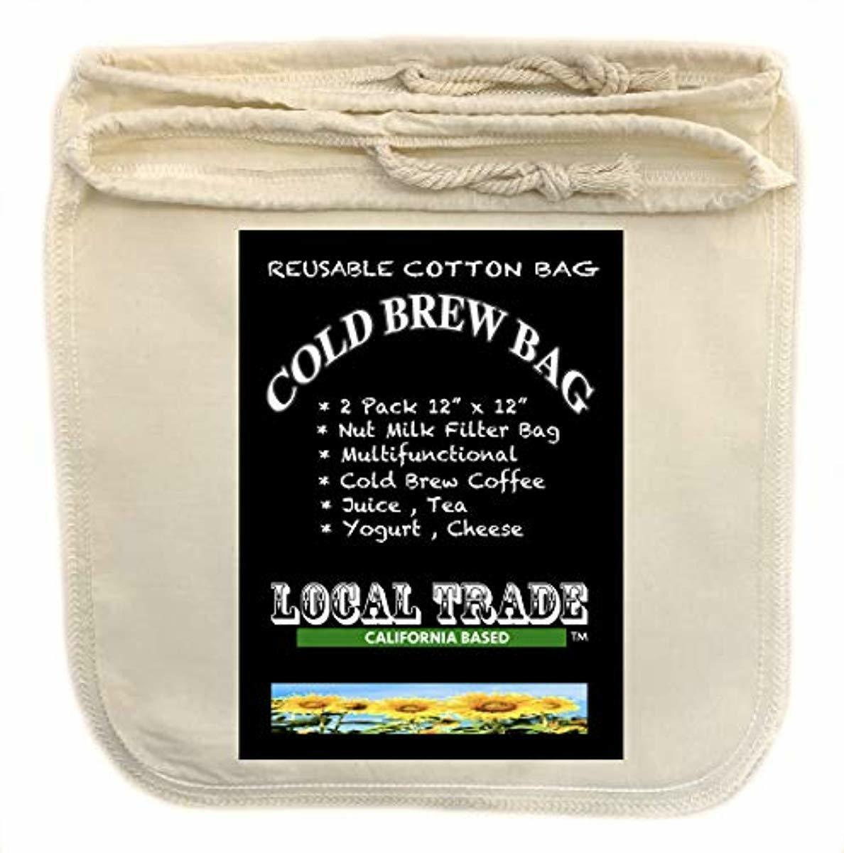 Cotton Cold Brew Coffee Bags - Large 12 x 12 Inch Reusable