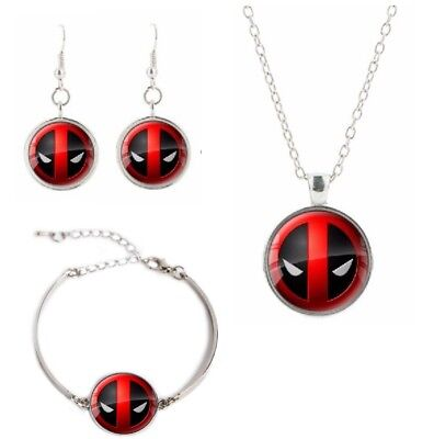 Deadpool Logo Glass Domed Pendant Necklace, Earrings, Bracelet Set