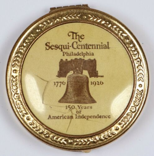1926 Sesquicentennial Philadelphia Makeup Compact w/ Mirror and Puff