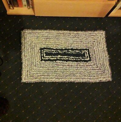 Rag Rug/Clippy/Proddy Mat Shabby Chic Handmade on Narrowboat. Ideal Xmas present