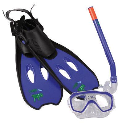 Kinder Tauchset Schwimmflossen Taucherbrille Schnorchel 3-6 Jahre Froggy blau