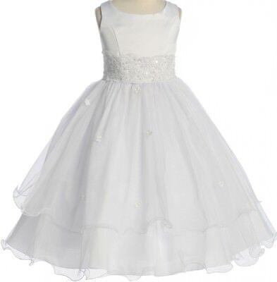 Ivory Tulle Flower Girl Dresses (Ivory Lace Tulle Layered Flower Girl Fancy Elegant Easter Communion Girl)