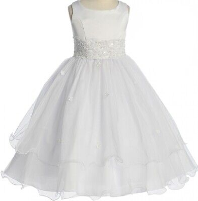 Flower Girl Dresses Tulle Skirt (Flower Girl Dress White Sleeveless Satin Tulle Skirt First Communion Kids)
