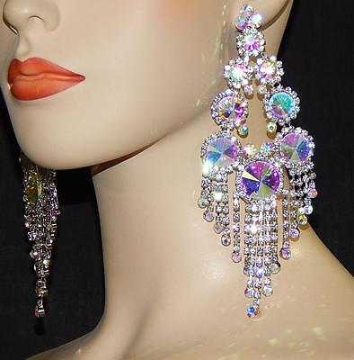 Iridescent Crystal - Silver AB Iridescent Rhinestone Crystal Bridal Chandelier Earrings /7592