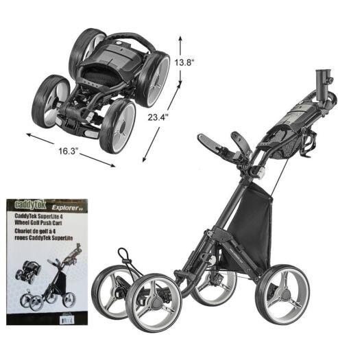 CaddyTek SuperLite Explorer V8 Golf Push Cart 4 Wheel Strong Aluminum Frame ✅✅✅✅