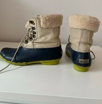 Womens Sperry J. Crew Leather Wool Duck Shearling Boots Rain Snow Size 8