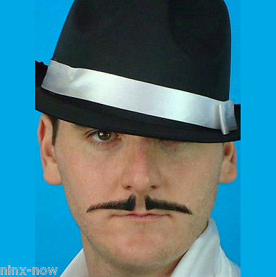 1920's Gangster Mobster Pencil Moustache Black Human Hair Quality Natural Look