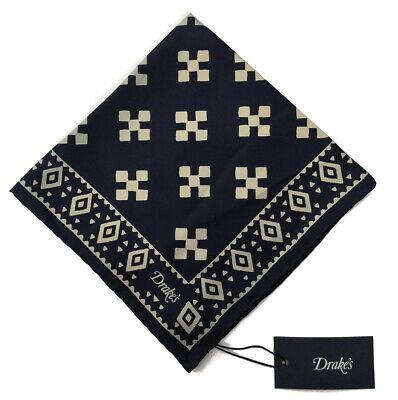 Drake's Pocket Square  Navy bandana print Pure silk