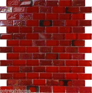10sf red iridescent glass mosaic tile kitchen backsplash