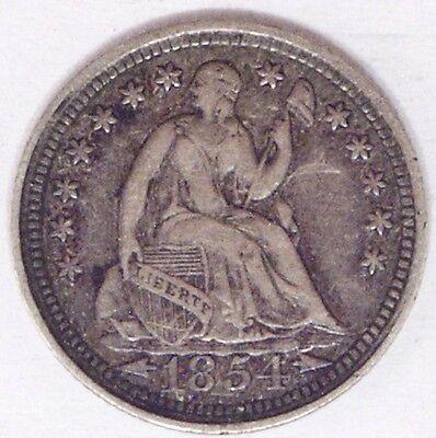 USA 1854 WITH ARROWS SEATED HALF DIME EF CIRC.