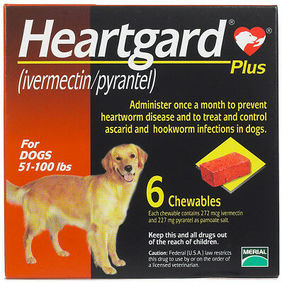 Heart gard Plus 6 Chewable Tablets for Dogs, up to 51-100 lbs exp - Heartgard Chewables
