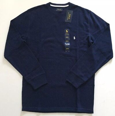 Polo Ralph Lauren Men's Long Sleeve Waffle Shirt Thermal Navy Blue M L XL (Long Sleeved Navy Blue Shirt)