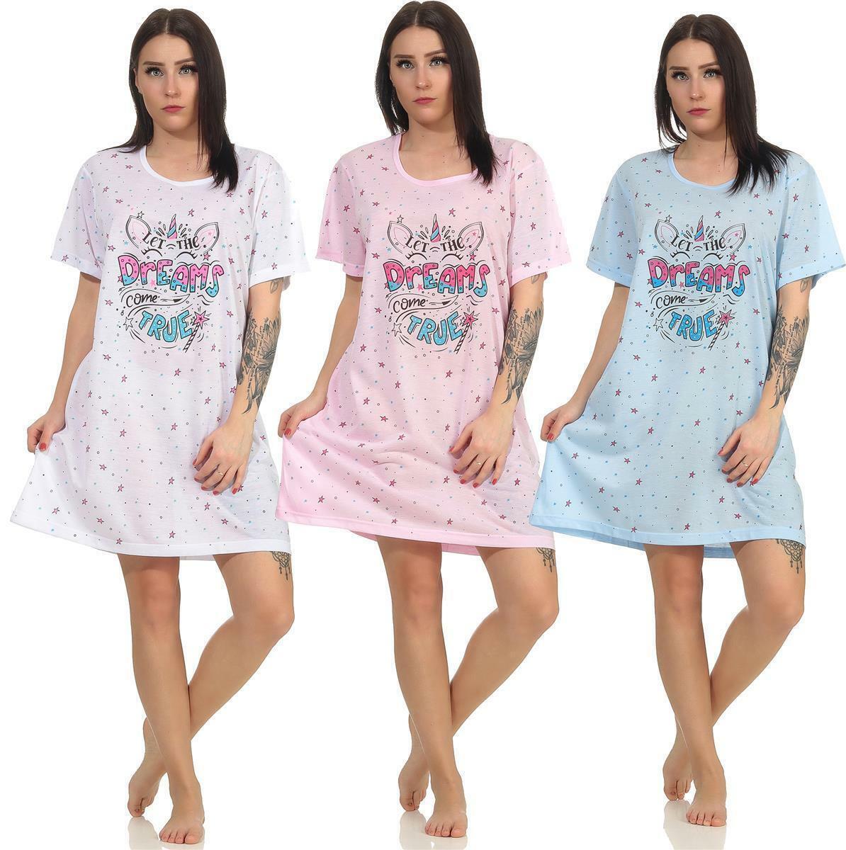 Damen Nachthemd Sleepshirt Nachtwäsche mit Muster,S M L  XL 2XL 3XL