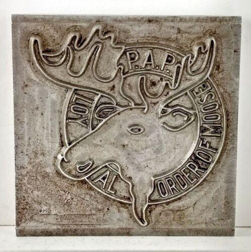 Loyal Order Moose Printers Watermark Metal Die Block 1949