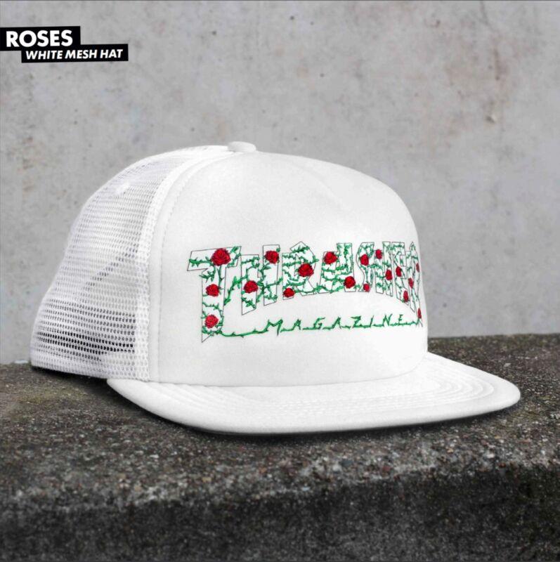 Thrasher Magazine ROSES LOGO Snapback Skateboard Trucker Hat WHITE