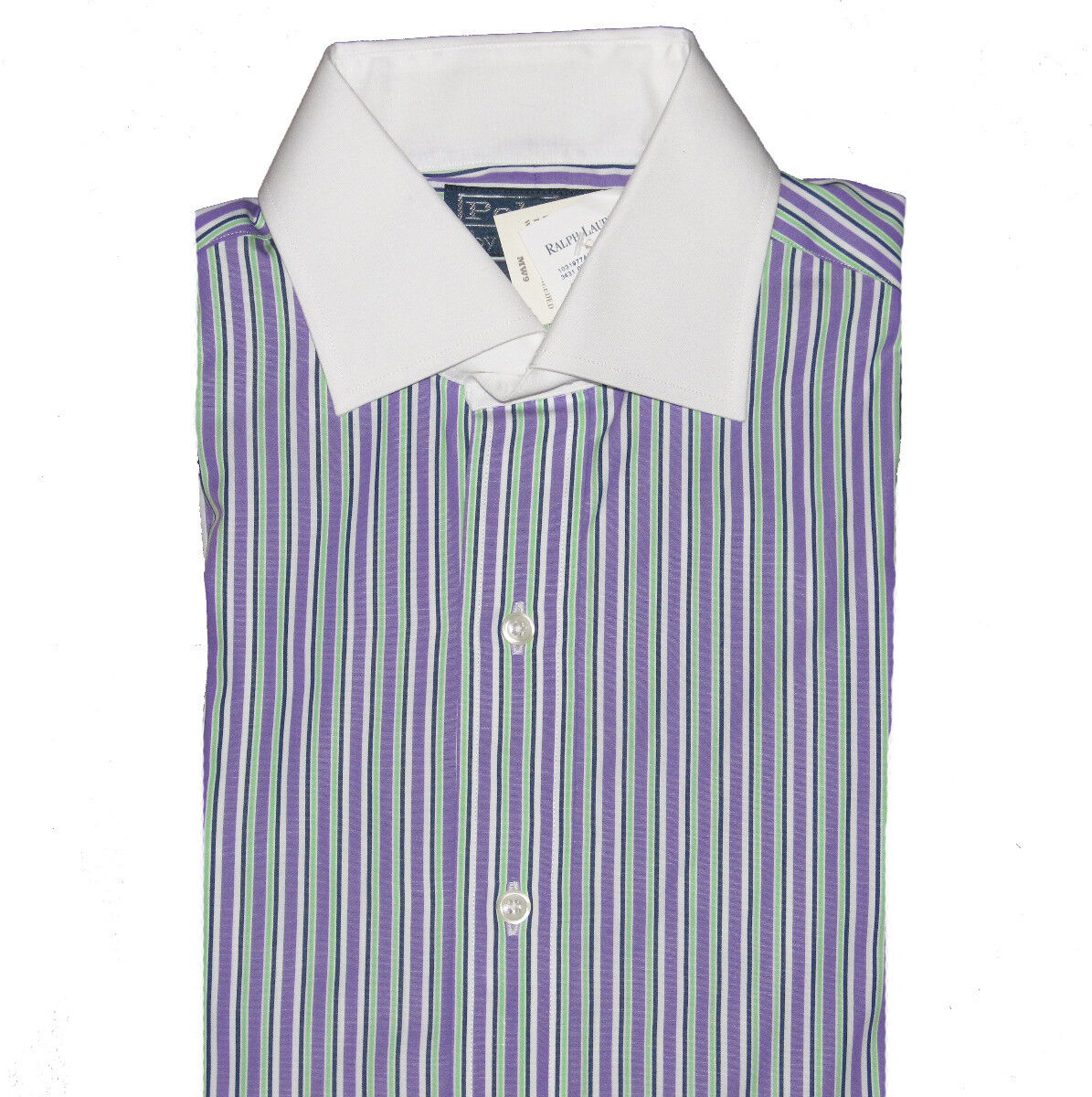Purple Green & Navy with White Collar