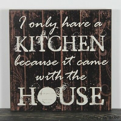 PRIMITIVE COUNTRY BLACK  WOOD KITCHEN HUMOR SIGN HANDMADE HOME WALL DECOR (Primitive Country Home Decor)