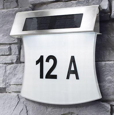 Design Solar Hausnummer mit LED Beleuchtung Hausnummernleuchte Edelstahl SH03