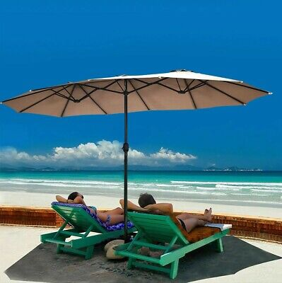 15ft Outdoor Patio Hanging Double Sided Twin Umbrella With Crank Stand Sun...