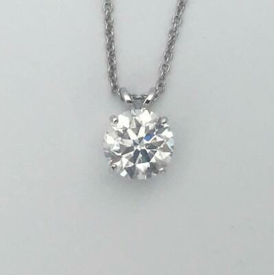 - 3/4 ct DIAMOND GOLD PENDANT NATURAL ROUND CUT SOLITAIRE NECKLACE 14K WHITE GOLD