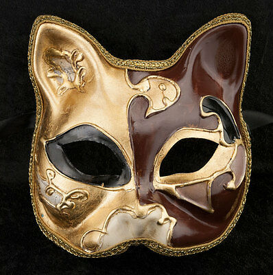 Mask from Venice Cat Gatto-Carnival-Muse Brown Golden -2016-V82B