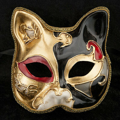 Mask Venice Cat gatto-carnival-muse Black Golden -2014-V82B