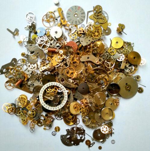 60g Steampunk Watch Movement Parts Gears Cogs Wheels Assorted Lot Industrial Art