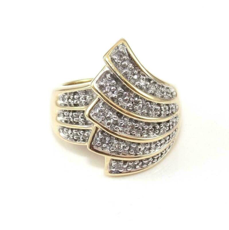 Alwand Vahan 14K Yellow Gold Ring Size 7.5 Natural Diamond Feather Spray Cluster