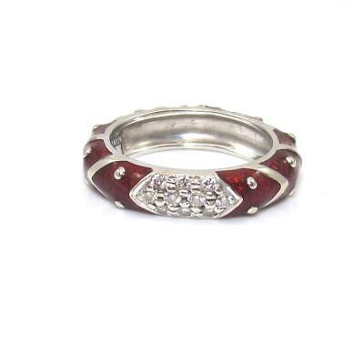 Hidalgo 18K White Gold Ring Size 6 Diamond Enamel Band