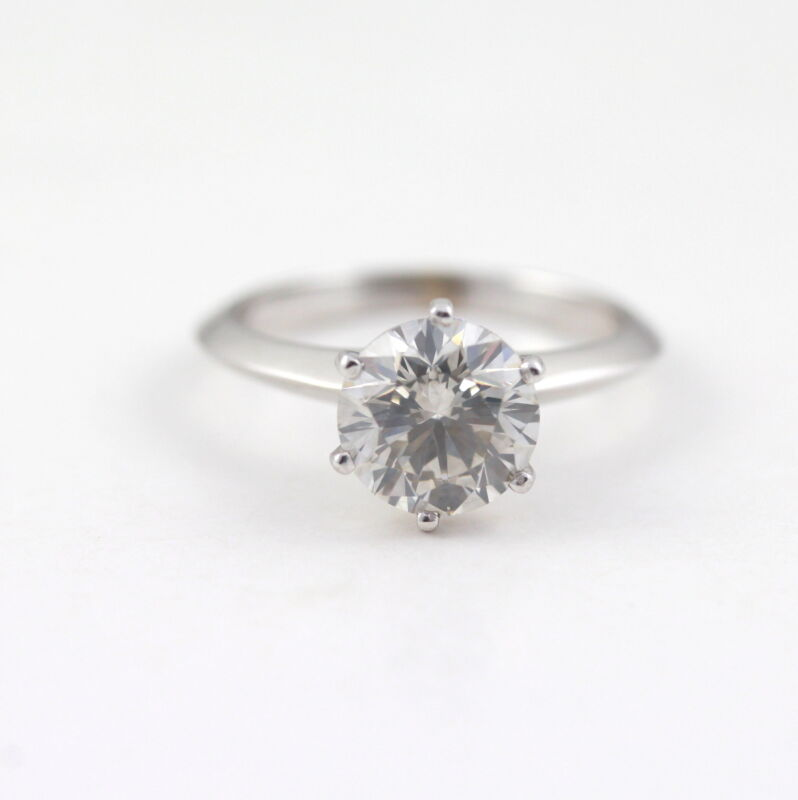 2 Carat Round D Vs2 Natural Enhanced Diamond Solitaire Ring  Solid Platinum