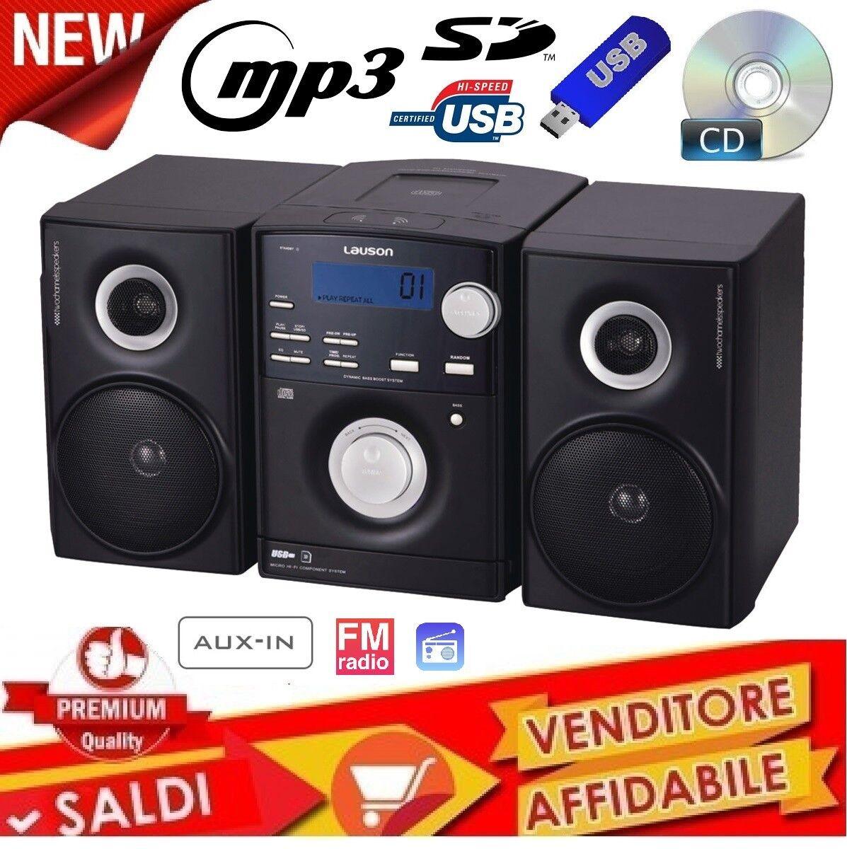 IMPIANTO STEREO HI FI CD MP3 RADIO FM USB SD AUX-IN  2 CASSE DISPLAY NERO 2018