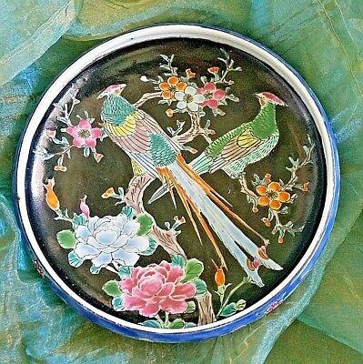 VINTAGE ANTIQUE JAPANESE PORCELAIN FLOWERS BIRDS DESIGN DISH BOWL SIGNED SALE