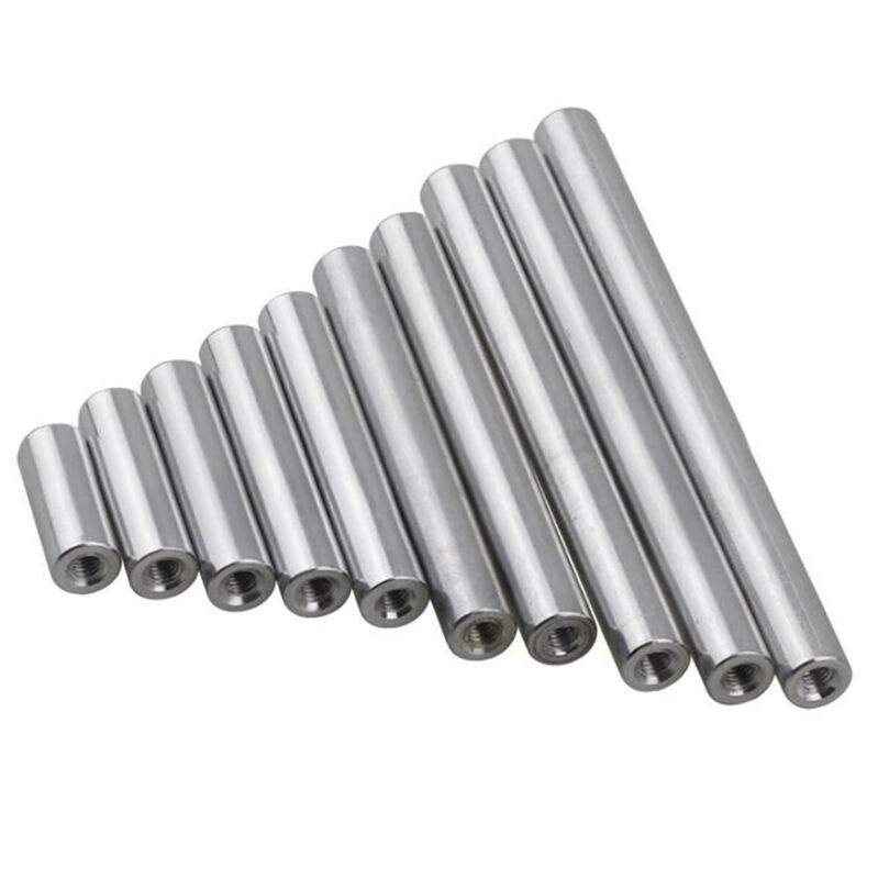 M6 Aluminum Column Round Threaded Sleeve Stud Standoff Nut Connector / OD 10mm