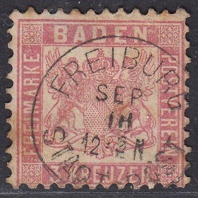 Baden Freiburg Stadtpost Einkreisstempel auf MiNr. 18