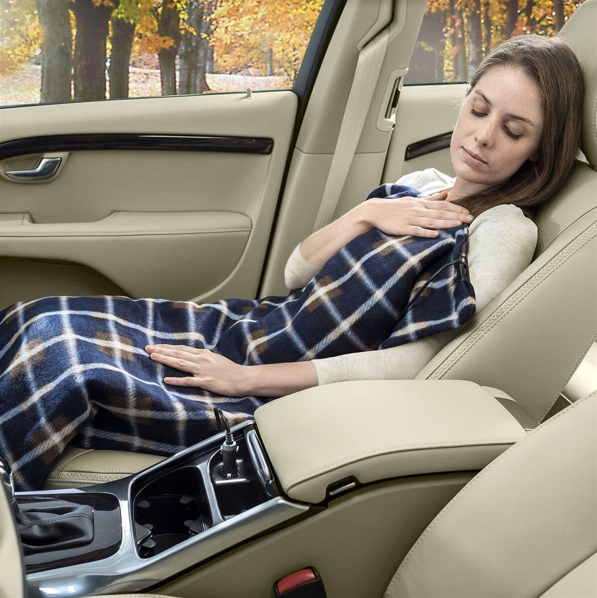 Blue Plaid Electrical 12V Travel Warm Fleece Blanket Throw Plug In For Cars Bedding