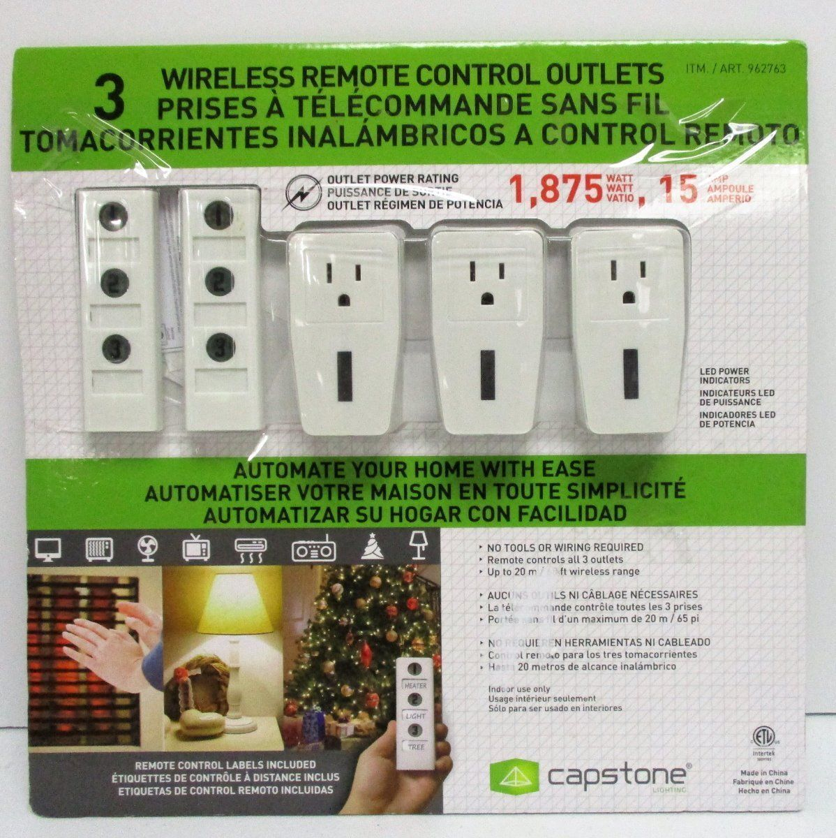 1 Wireless Remote Control Power Outlet Light Switch Plug Socket With Wiring Electrical Wall Outlets Stock Photo