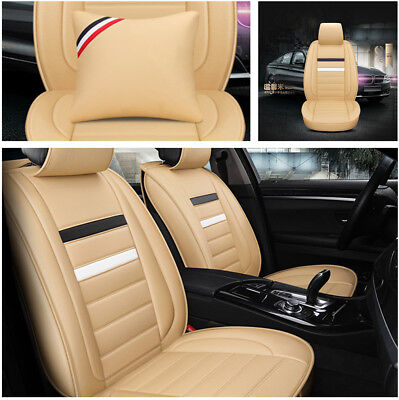 Full Set 5 Seater Car Seat Cover Luxury PU Leather Car-Styling 3 in 1 Rear Row