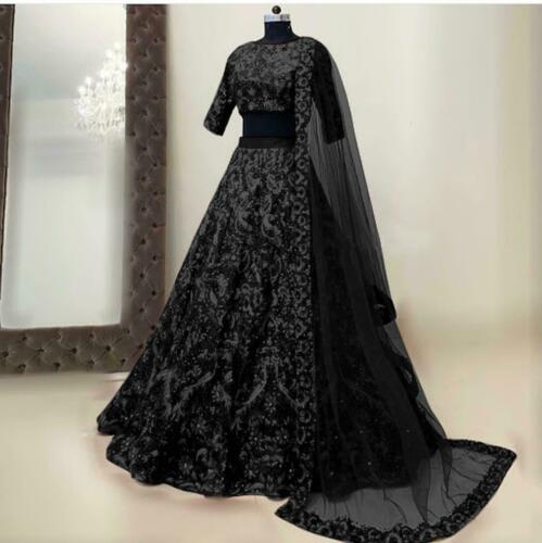 Pakistani Eid Black Party Designer Wedding Indian Bollywood Bridal Lehenga Choli
