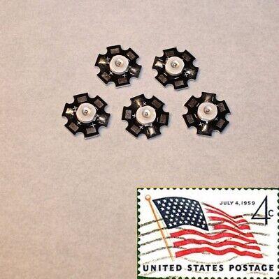 5x White 3w 20mm Star Wide Angle Leds Light Chip Smd Smt Usa