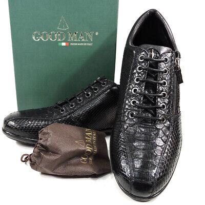 🇮🇹 GoodMan 🇮🇹 Men's black python leather lace-up & zip comfort sneakers Goodman Mens Leather