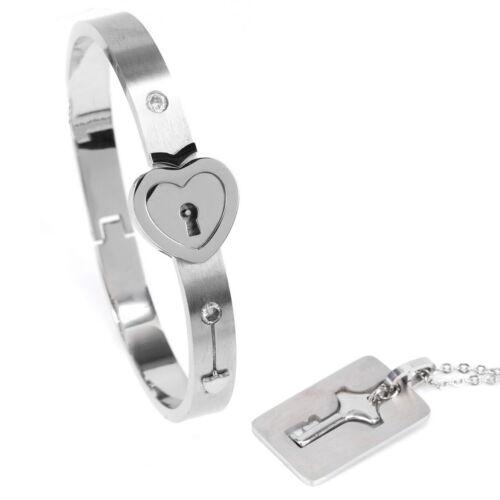 Jewellery - Couple Titanium Steel Lock Bangle Bracelet & Key Pendant Necklace Love Set Hot