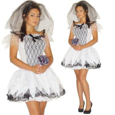Zombie Kostüm Braut Halloween Kleid Schleier Blumen Gr. - Kostüm Blume