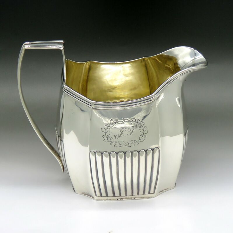 Antique 1803 English Georgian Sterling Silver Lobed Tea Milk Pitcher Creamer