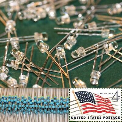 100x Green 3mm Round Top LEDs Water Clear Light 12v Resistor Kit USA