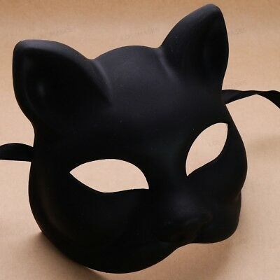 Black Simple Cat Woman Masquerade Mask Mardi Gras Halloween Ball Party Prom Mask